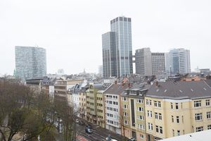 Looking out of the office window you can see the spectacular Düsseldorf skyline.