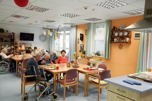 Residents meet for meals and leisure activities in the cosy common rooms.
