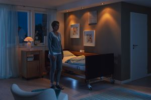 The CCS can forward the messages from the Out-of-Bed System and switch on the under bed light, which is also included in the standard package.