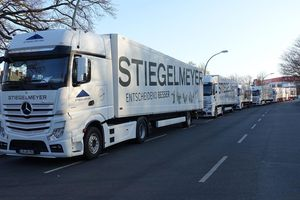 The convoy arrives in Berlin – six trucks transported the valuable cargo to the capital.