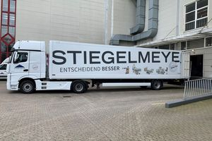 Herford, beginning of April: Trucks arrive in front of our warehouse to load the beds for Berlin.