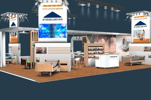 The Stiegelmeyer-Group has worked together with optimal to develop a new stand concept. This year was the premiere. Our stand at Altenpflege in Nuremberg – here a 3D rendering – was met with a positive response from customers.